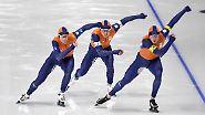 Wie bei fast allen Eisschnelllaufwettbewerben haben die Niederländer die Nase klar vorne, was angesichts einer solch synchronen Choreografie aber auch kaum verwundert.