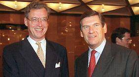 1998 fädelte Krupp-Chef Gerhard Cromme (l.) mit Thyssen-Vorstandskollege Ekkehard Schulz die Fusion ein.
