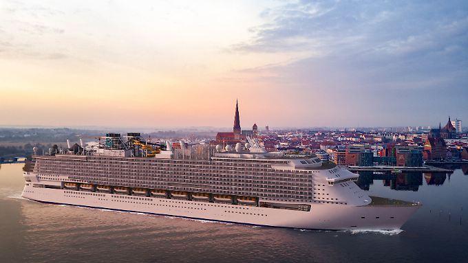 Ein Schiff der Global Class vor der Rostocker Kulisse. Diese Simulation wird wohl höchstens bei der Übergabe an den Kunden Wirklichkeit.