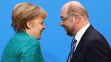 Merkel und Schutz nach den Koalitionsverhandlungen. Einst hatte der frühere SPD-Vorsitzende eine Beteiligung an einer Regierung unter Merkel strikt abgelehnt.