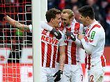 Simon Zoller (l.) machte eine Viertelstunde vor Schluss mit dem 2:0 alles klar für die Kölner.