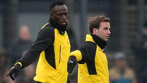 "Probetraining beim BVB: Götze erklärt Bolt, ""wie er noch schneller werden kann"""