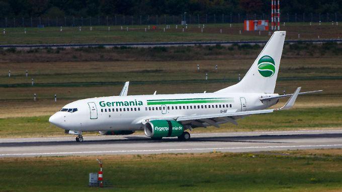 Eine Germania-Maschine vom Typ Boeing 737.