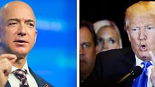 Jeff Bezos, reichster Mann der Welt und Amazon-Gründer (l.) und Trump verbindet herzliche Abneigung.