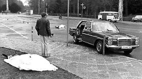 Der Tatort der Ermordung von Buback und seiner Begleiter - die Täterschaft ist bis heute nicht eindeutig geklärt.