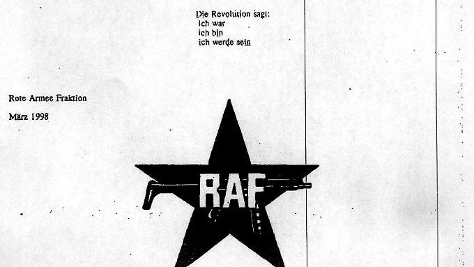 Die letzte Seite des achtseitigen Schreibens, in dem die RAF ihre Selbstauflösung bekannt gibt.