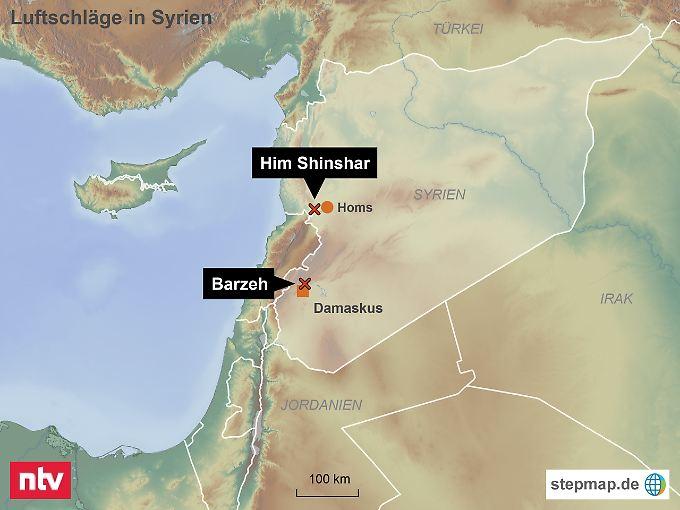 Drei Angriffsziele: Nahezu zeitgleich schlugen US-amerikanische, britische und französische Raketen bei Damaskus und an zwei Stellen bei Him Shinshar westlich von Homs ein.
