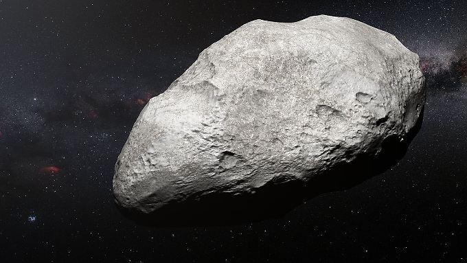 """Asteroid """"2004 EW95"""" in einer Computergrafik. Er ist 300 Kilometer groß und vier Milliarden Kilometer weit weg."""