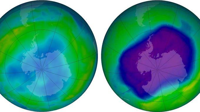 Das Ozonloch über der Antarktis am 24.9.2006 (r.) und am 9.6.2013 auf einerComputergrafik. Die blauen und violetten Farben zeigen an, dass die Ozonschicht dünn ist, die gelben, grünen und roten weisen auf mehr Ozon hin.