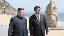 Xi Jinping (rechts) und Kim Jong-un bei ihrem zweiten Treffen in Dalian.