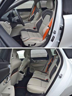 Beiges Leder mit Mash-Einlagen. Die Sitze im Volvo V90 Cross Country Ocean Race sind wunderbar bequem, aber extrem schmutzempfindlich.