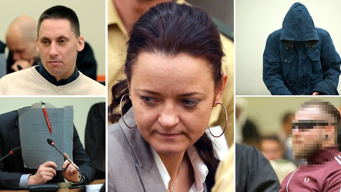 Neben Beate Zschäpe sind im NSU-Prozess Ralf Wohlleben (oben links), Holger G. (unten links), Carsten S. (oben rechts) und André E. (unten rechts) angeklagt.