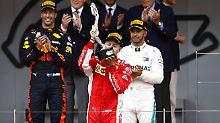 Drei im Kampf um die Krone: Daniel Ricciardo, Sebastian Vettel und Lewis Hamilton (v.l.) schenken sich nichts.