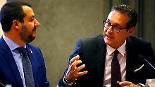 Itlaiens Innenminister Matteo Salvini und Österreichs Vizekanzler Vizekanzler Heinz-Christian sind sich einig.