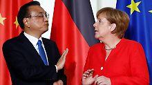 Gute Atmosphäre beim Gespräch zwischen Angela Merkel und Li Keqiang.