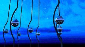 IceCube-Lichtsensoren (Photomultipier) im Eis der Antarktis (Computergrafik).