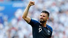 Olivier Giroud ist bei dieser WM bislang torlos - mit einem Treffer im Finale würde er Zinédine Zidane in der französischen Torjägerliste überholen.