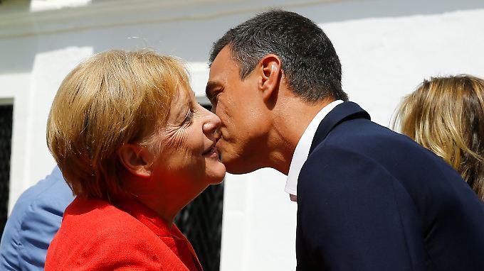 """Auf einer Linie: Berlin und Madrid verfolgten einen """"gemeinsamen Ansatz"""" beim Flüchtlingsthema, lobte die spanische Regierung schon vor Merkels Besuch."""