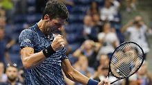 Novak Djokovic ist zum elften  Mal ins Halbfinale der US Open in New York eingezogen.