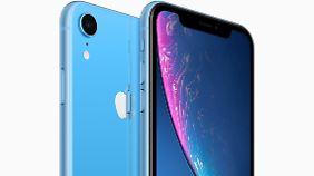 Das blaue iPhone XR.