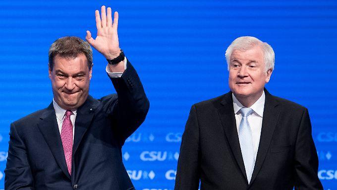 Wollen Geschlossenheit demonstieren; Markus Söder und Horst Seehofer beim CSU-Parteitag.