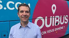 Ouibus-Chef Roland de Barbentane zwinkert den Deztschen schon mal zu.