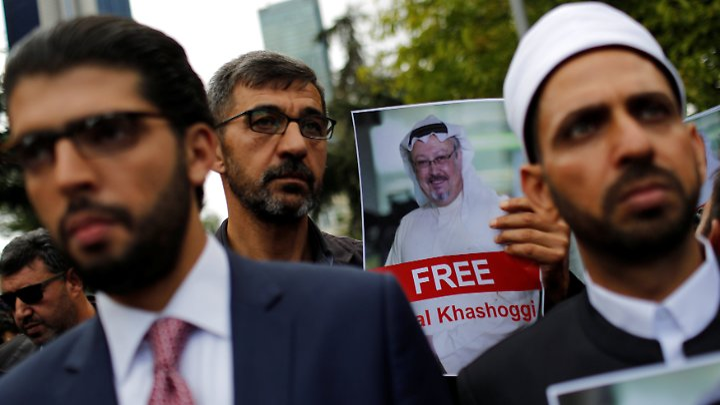 Demonstranten in Istanbul fordern die Freilassung von Khashoggi.