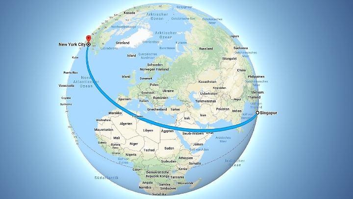 Fast einmal um den halben Globus - die Strecke von Singapur nach New York.