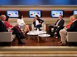 Wills Gäste, von links nach rechts: Michael Koß, Annalena Baerbock, Dorothee Bär, Boris Pistorius, Melanie Amann und Jörg Meuthen