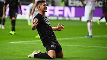 Eintracht Frankfurts Stürmer Luka Jovic erzielte beim 7:1  gegen Fortuna Düsseldorf fünf Tore.