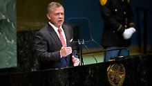 Jordanian King Abdullah II addresses the General Debate of the 73rd session of the United Nations General Assembly at the UN headquarters in New York, on Sept. 25, 2018. )