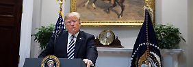Trump bei seiner Rede im Weißen Haus, bezeichnenderweise unter einem Porträt von Präsident Roosevelt, der Ende des 19. Jahrhunderts im Spanisch-Amerikanischen Krieg unter anderem um die Vorherrschaft in Mittelamerika kämpfte.