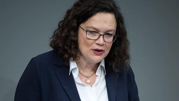 Nahles verteidigte das Rentenpaket im Bundestag - es trägt klar die SPD-Handschrift.