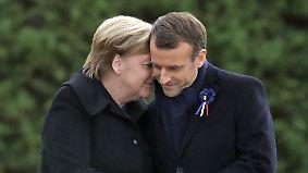Historisches Treffen in Compiègne: Merkel und Macron setzen Zeichen der Versöhnung