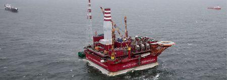 Russische Ölplattform in der Petschorasee.