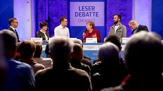 Später Besuch in Chemnitz: Merkel stellt sich den Fragen der Bürger