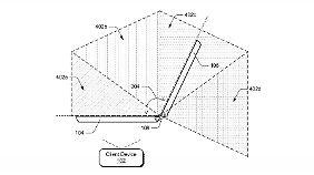 Auch Microsofts Patent beschreibt ein Gerät, bei dem je nach Winkel unterschiedliche Oberflächen angezeigt werden.