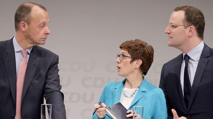 Friedrich Merz (l.), Annegret Kramp-Karrenbauer und Jens Spahn in Berlin.