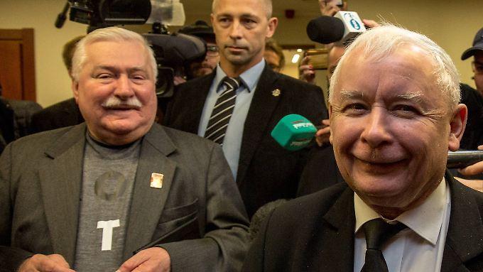 Einst politische Weggefährten, heute zerstritten: Walesa (l.) und Kaczynski.