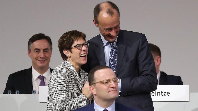 Die drei Kandidaten vereint: Kramp-Karrenbauer, Merz und Spahn.