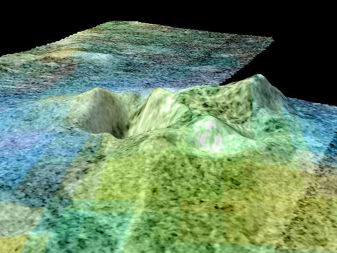 Hier deutlich zu erkennen: Erhebungen auf der Oberfläche des Titan. Sie ähneln dem Ätna in Italien, sagen Forscher.