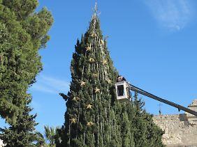 Weihnachtsbaum vor der Geburtskirche in Bethlehem.