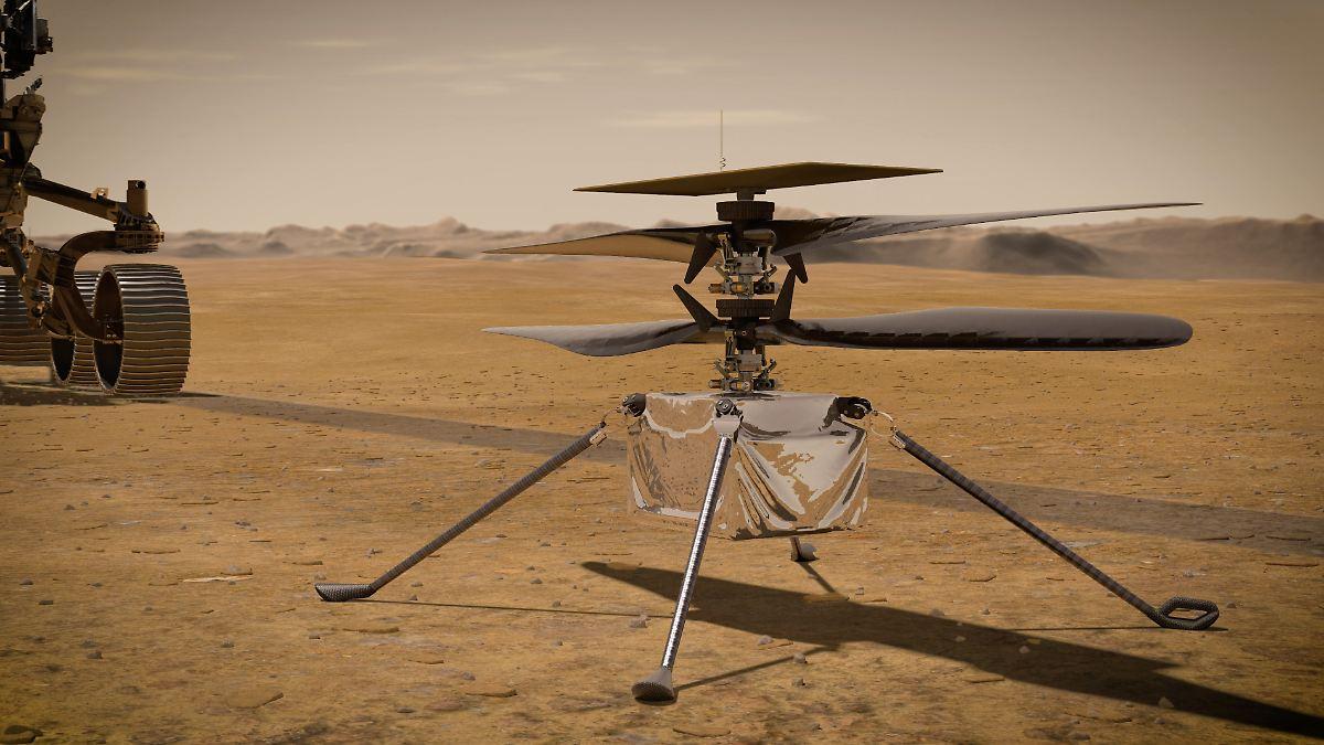 Vor historischem Erstflug:Helikopter sendet Lebenszeichen vom Mars - n-tv NACHRICHTEN