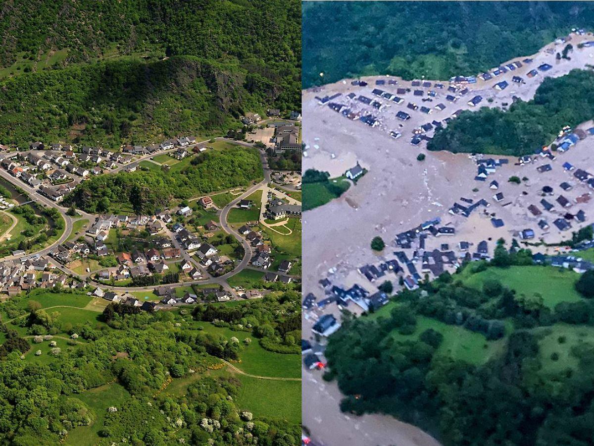 Eine Spur der Verwüstung Die Flutkatastrophe in Vorher Nachher ...