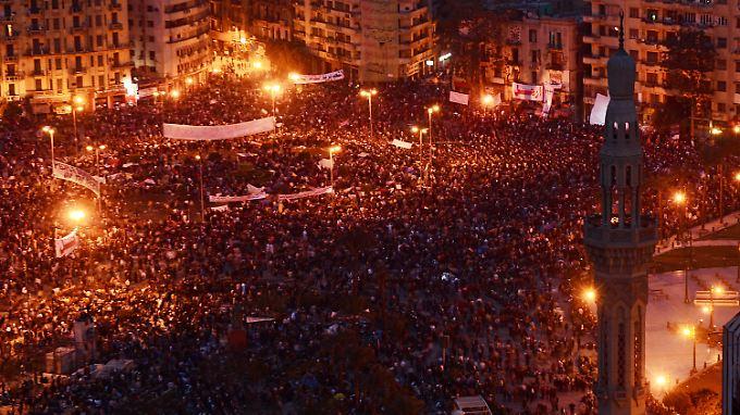 Der elfte Tag der Proteste: Demonstranten in Kairo auf dem Tahrir-Platz.
