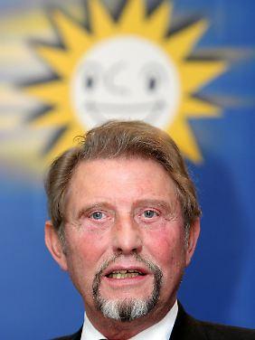 Vorstandschef Gauselmann auf einer Bilanzkonferenz seines Unternehmens.