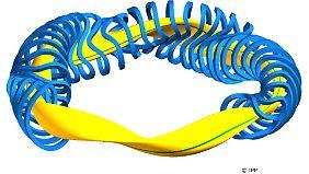 Hier dargestellt: das von einer Magnetfeld umschlossene Plasma (gelb).