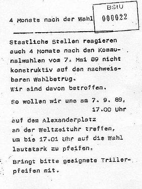 Flugblatt für die Demonstration am 7. September 1989 an der Weltzeituhr. Quelle: Robert-Havemann-Gesellschaft.