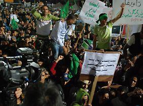Proteste an der Universität von Tripolis.