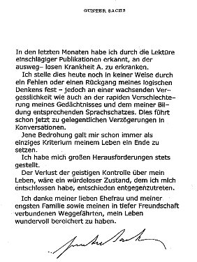 Gunter Sachs Abschiedsbrief
